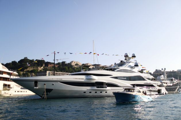 Philip Green's luxury yacht 'Lionheart' moored in Port Hercules during previews ahead of the Monaco Formula...