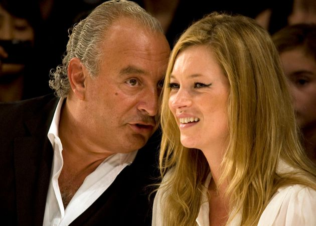 Kate Moss and Philip Green watch the Fashion for Relief charity fashion show in