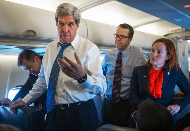 Jen Psaki, pendiente de las declaraciones en un viaje a China del entonces secretario de Estado, John...
