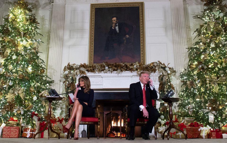 Donald Trump e Melania Trump alla Casa Bianca durante il Natale