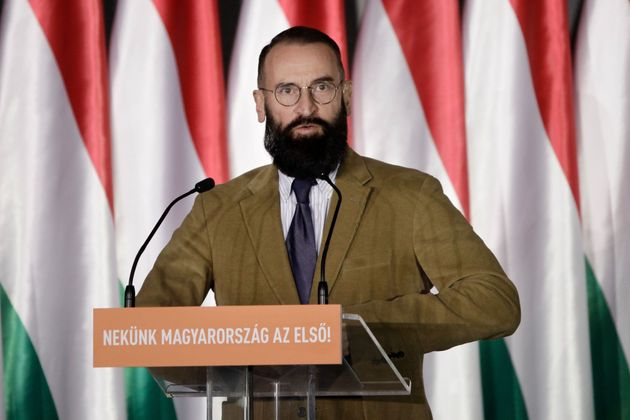 Fidesz-KDNP Member of the European Parliament Jozsef Szajer gives a speech to launch the campaign of...