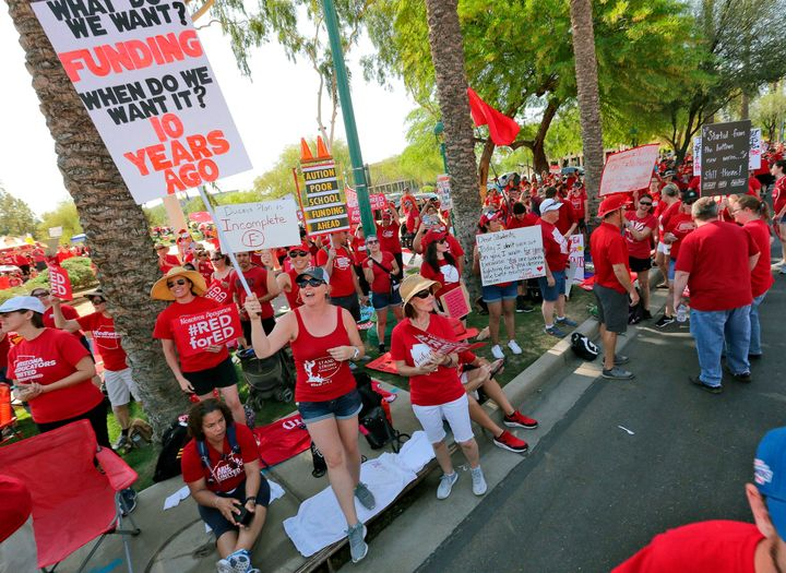 On April 27, 2018, teachers rally outside the Capitol in Phoenix, in a series of strikes across the nation over low teacher p