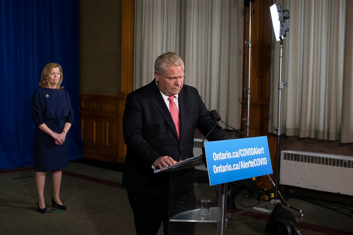 Ontario Premier Doug Ford attends a news conference at the Ontario legislature in Toronto on Nov. 25, 2020.