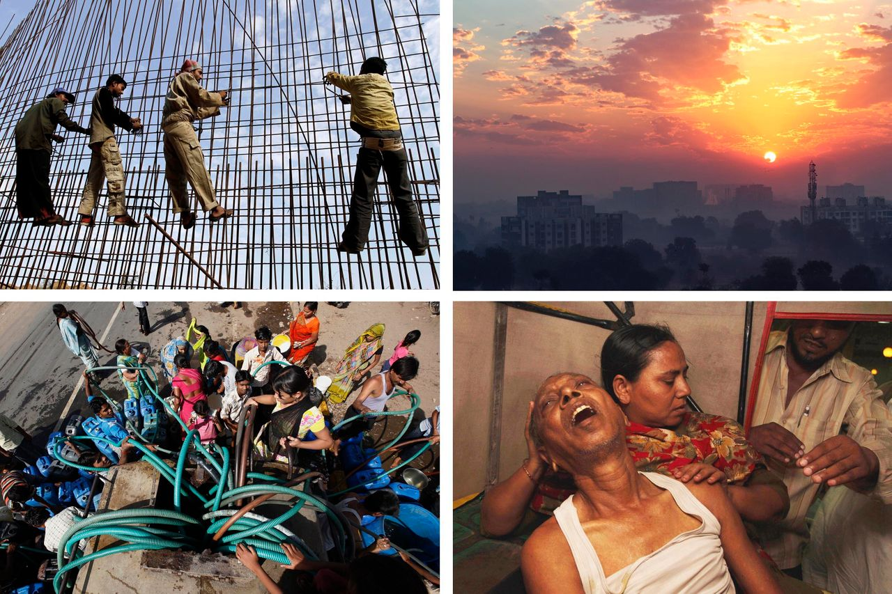 Top left: Laborers at a construction site in Ahmedabad, India, in January 2012. Top right: The Ahmedabad skyline as day breaks. Bottom left: People in Ahmedabad crowd around a water tanker to fill their containers in April 2010.Bottom right: A patient suffering from extreme heat in Ahmedabad in May 2010. Credit:Reuters/AP/Getty Images