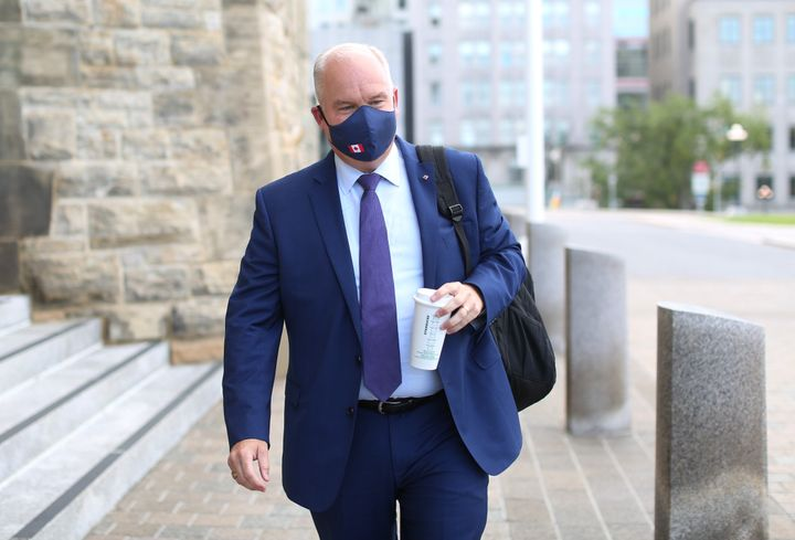 Conservative Party of Canada leader Erin O'Toole arrives on Parliament Hill in Ottawa, Aug. 25, 2020.