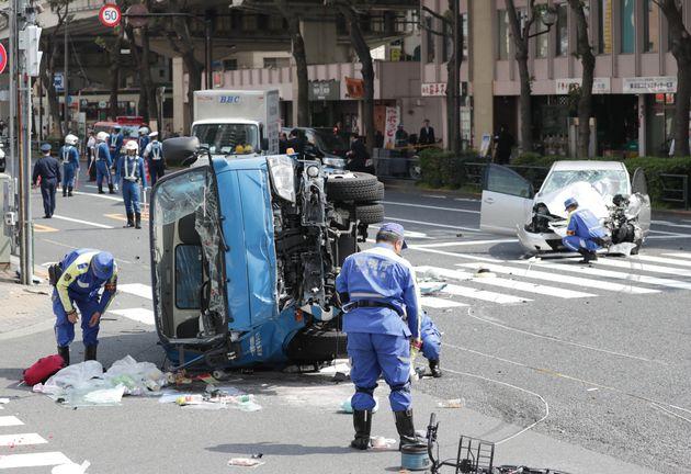 池袋事故/横転したごみ収集車(2019年4月)