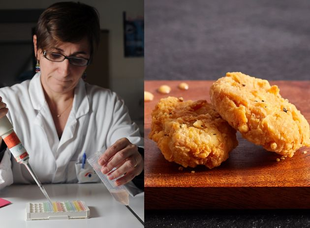 A droite, les images des nuggets de viande de culture commercialisés par Eat Just. A gauche, une...