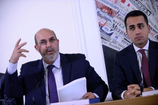 ROME, ITALY - OCTOBER 17: Vito Crimi and Luigi Di Maio of Movement 5 Stars during the presentation to...