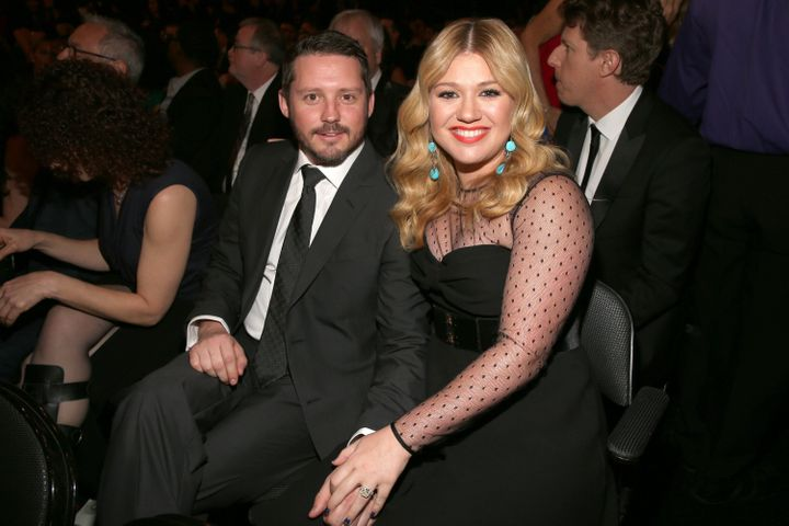 Kelly Clarkson and Brandon Blackstock attend the 55th Annual Grammy Awards on Feb. 10, 2013, in Los Angeles.