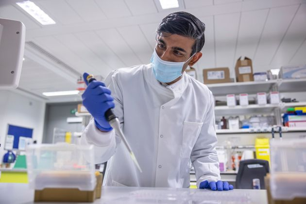 Chancellor Rishi Sunak at the Imperial Clinic Research Facility at Hammersmith