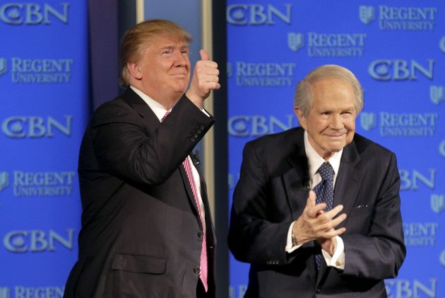 Trump appears with Pat Robertson at a campaign event at Regents University in Virginia on Feb. 24,
