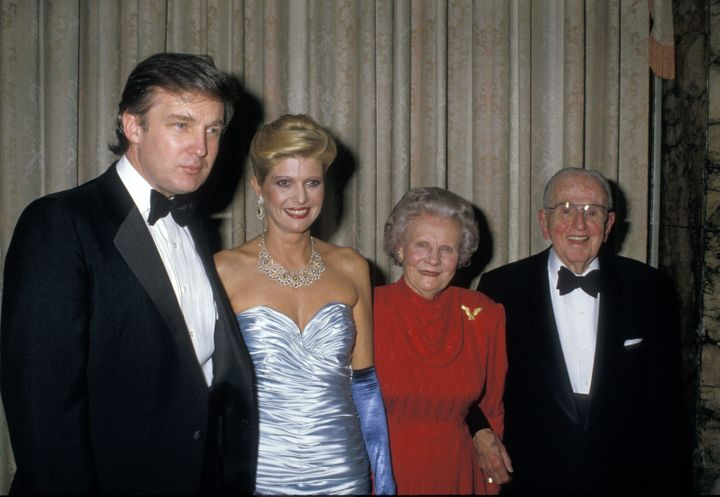 Donald Trump and then-wife Ivana Trump attend a 90th birthday party for Dr. Norman Vincent Peale (far right) at the Waldorf A