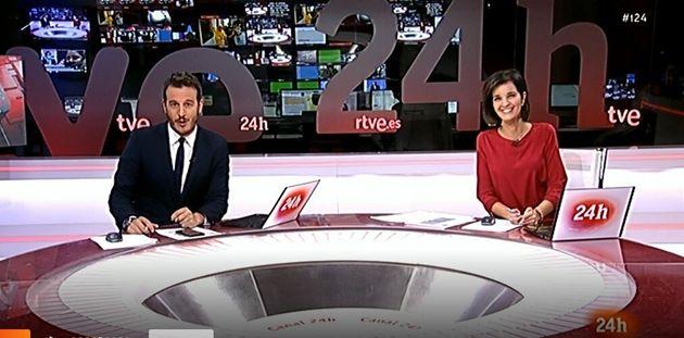 Diego Losada y Paula Sainz-Pardo, entre risas, este jueves en el '24