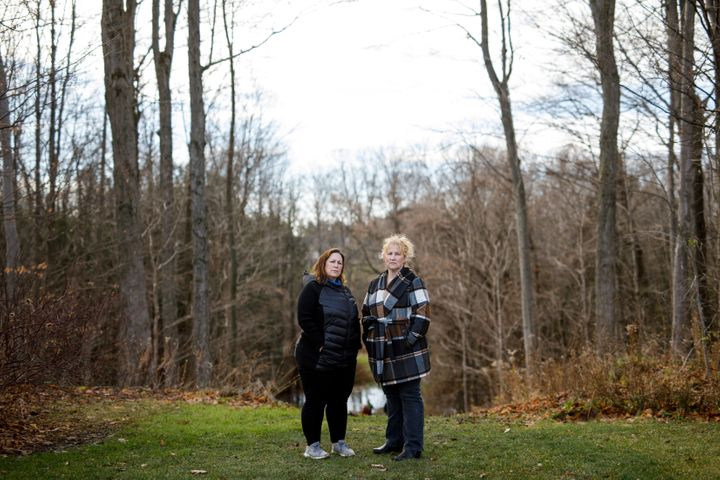 Heather Arthur and Kara Ferreira pose for a photo in Wasaga Beach, Ont. on Nov. 28, 2020. Their mother, Elise Arthur, died of COVID-19 on April 28.