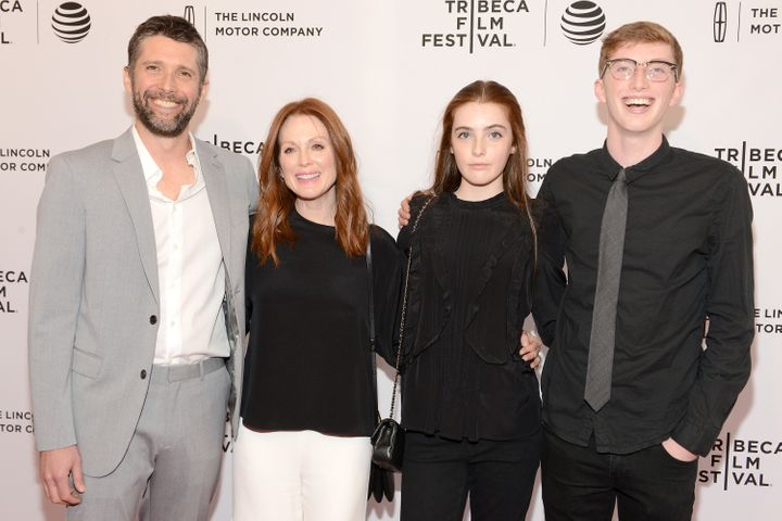 "Julianne Moore, Bart Freundlich and children Liv and Caleb Freundlich attend the premiere of ""Wolves"" at the Tribeca Film Festival in New York City in 2016."