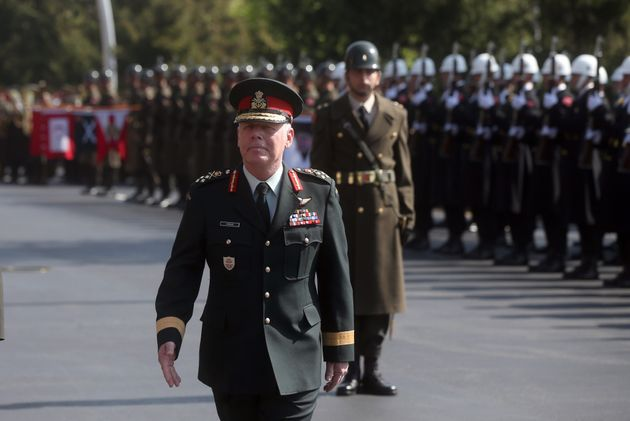Canadian Army General Jonathan Vance is seen here, welcomed by Turkish Chief of General Staff Yasar Guler...