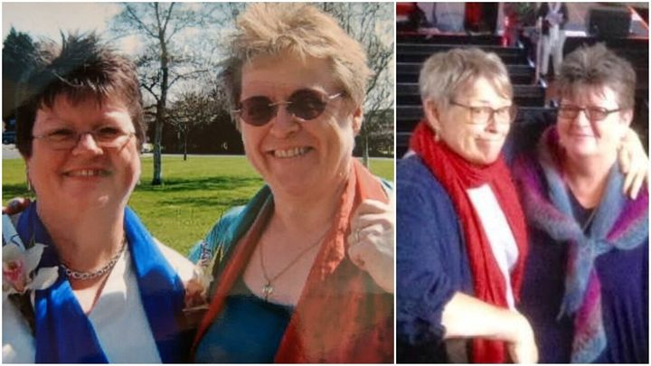 Liz and Finola at their civil partnership in 2006, alongside a recent photo.