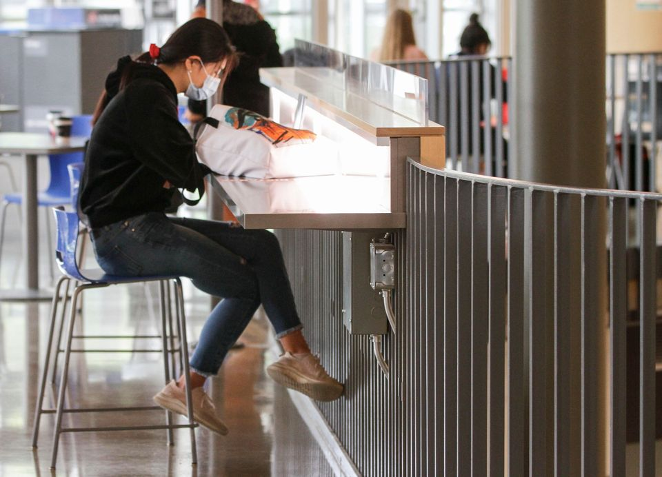A student wearing a face mask is seen at University of British Columbia (UBC) in Vancouver, B.C., on...