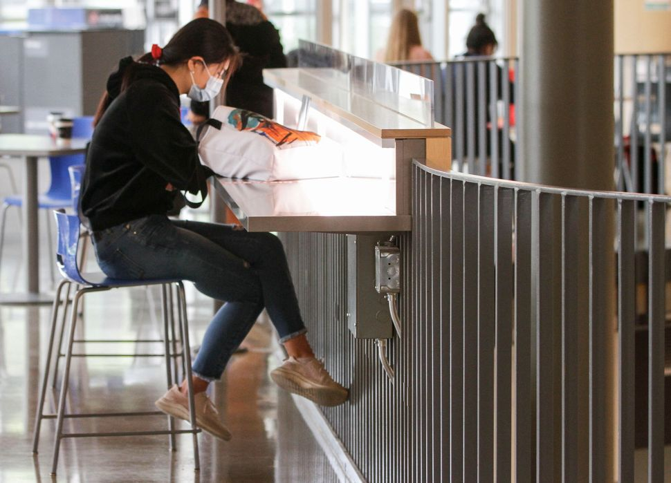 A student wearing a face mask is seen at University of British Columbia (UBC) in Vancouver, B.C., on Sept. 16, 2020.