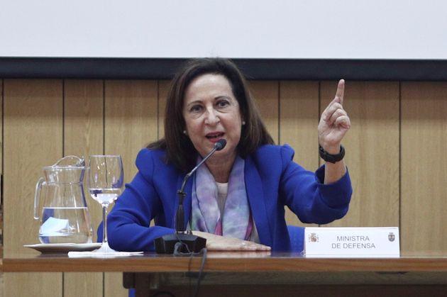 Margarita Robles, el 25 de junio pasado, en la base de Retamares (Pozuelo de Alarcón,