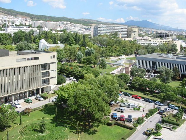 Aerial view of the Aristotle University of Thessaloniki,