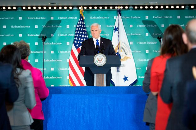 保守系シンクタンク・ハドソン研究所での演説は、米国内外に大きな反響をもたらした (Photo by Jim WATSON / AFP) (Photo credit should read JIM...