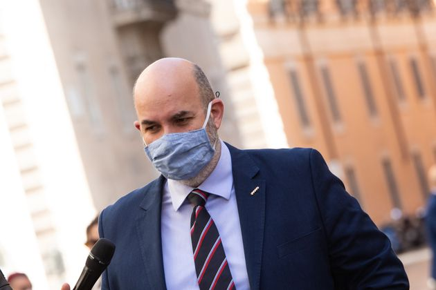 ROME, ITALY - 2020/05/20: Vito Crimi, political leader of the M5S (5 Star Movement), wearing a face mask...