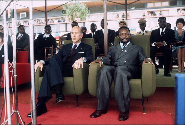 Le Président Valéry Giscard d'Estaing et le Président de la République centrafricaine Jean-Bédel Bokassa...