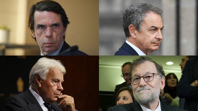 Imágenes de archivo de los cuatro expresidentes, González, Aznar, Zapatero y