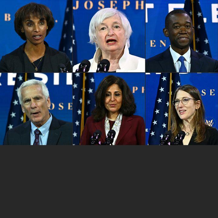 President-elect Joe Biden's economic team at The Queen Theatre in Wilmington, Delaware, on Dec. 1. Top, left to right: Chair