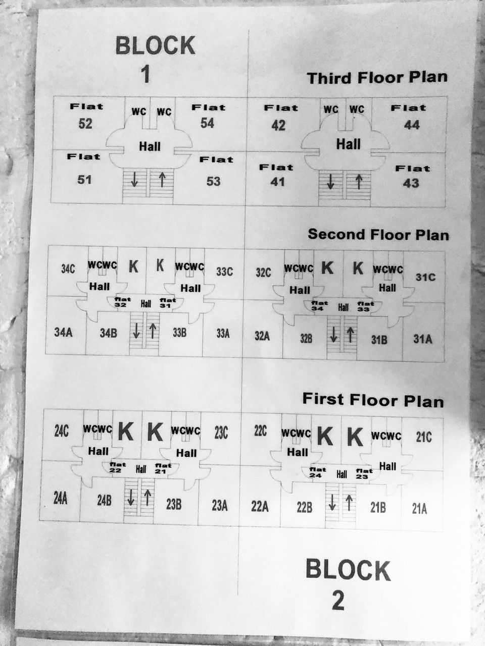 Floor plans in the building where Jankhana lives show how flats on the first and second floor are divided...
