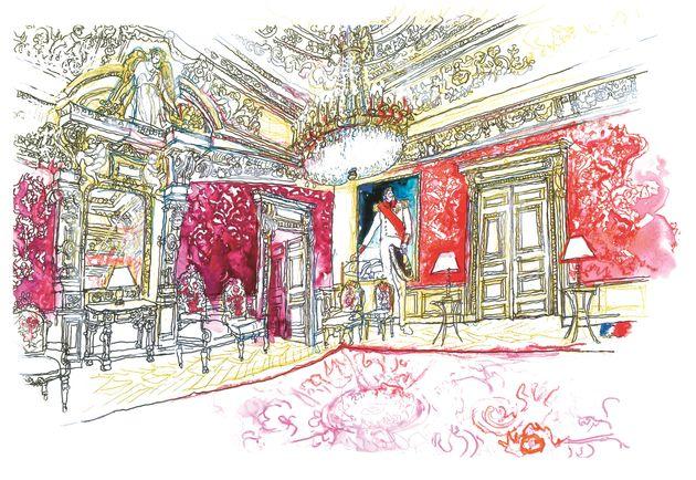 Le bureau du ministre des Affaires Étrangères au Quai d'Orsay à Paris, dessiné...