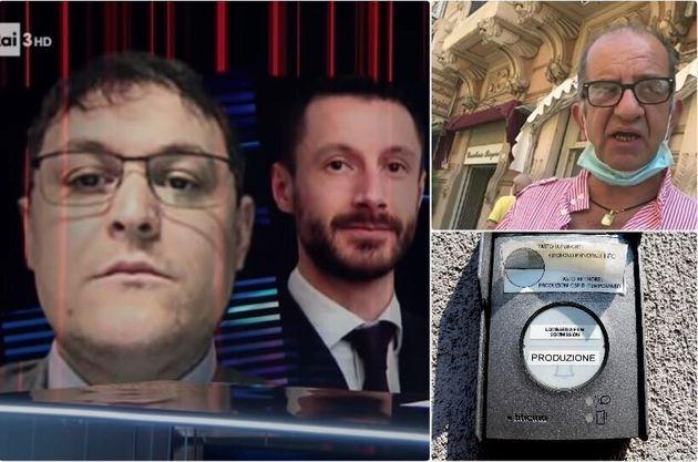A sinistra i commercialisti della Lega, a destra in alto Luca sostegni, in basso il citofono della Lombardia...
