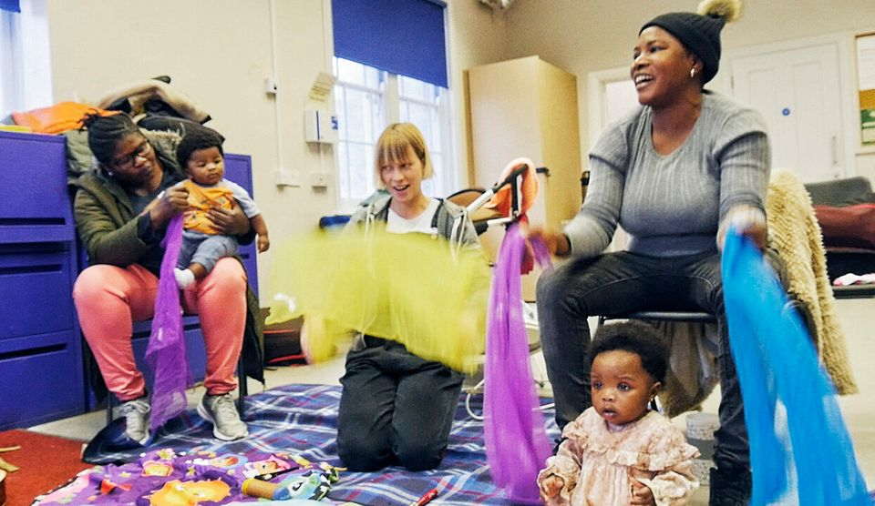 Mums at a drop-in session at The Magpie Project, which works to support families with children under...