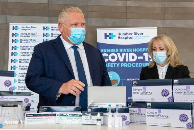 Ontario Premier Doug Ford and Long-Term Care Minister Merrilee Fullerton are briefed on rapid COVID-19...