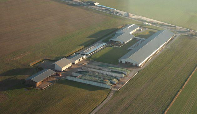 Une vue aérienne de la ferme des