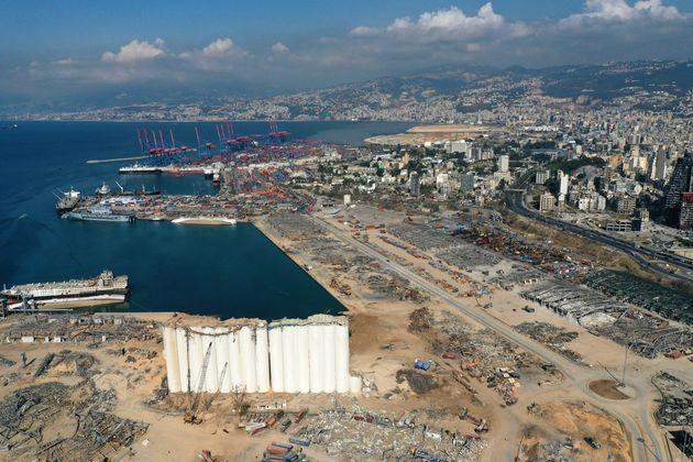 Le port de Beyrouth le 26 août 2020, trois semaines après la terrible explosion (AFP...