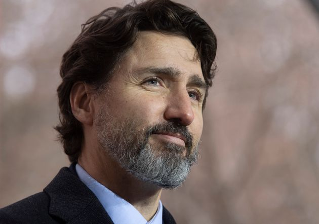 Prime Minister Justin Trudeau is seen during a news conference outside Rideau cottage in Ottawa on