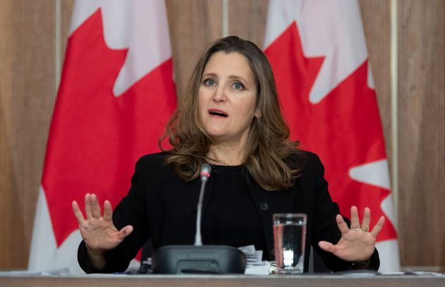 Deputy Prime Minister and Minister of Finance Chrystia Freeland responds to a question during a news...