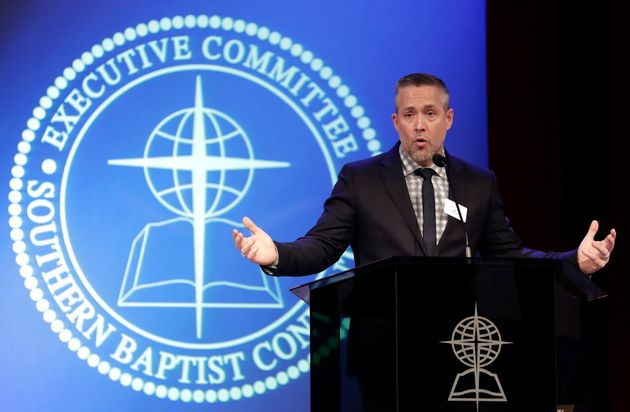 Southern Baptist Convention President J.D. Greear speaks to the denomination's executive committee in...
