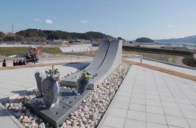 南三陸町震災復興祈念公園に設けられた「名簿安置の碑」。遺族の了解が得られた、東日本大震災による犠牲者の方々の名簿を保管している。