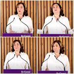 Las caras de Ada Colau por lo que ha pasado tras cinco minutos de discurso: no daba