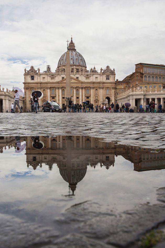 View of Basilica di San Pietro in Vaticano, in a rainy day, symbol of Catholic religion, Rome, Lazio,...