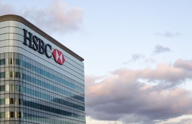 The HSBC logo tops a skyscraper in London, U.K., Feb. 27, 2015.HSBC is offering a record low 0.99...