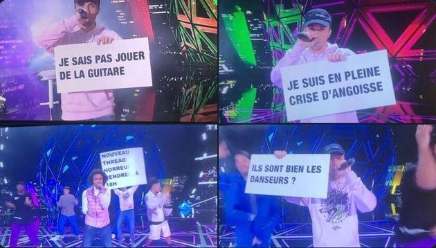 Squeezie et ses pancartes aux NRJ Music Awards, le 5 décembre 2020 sur