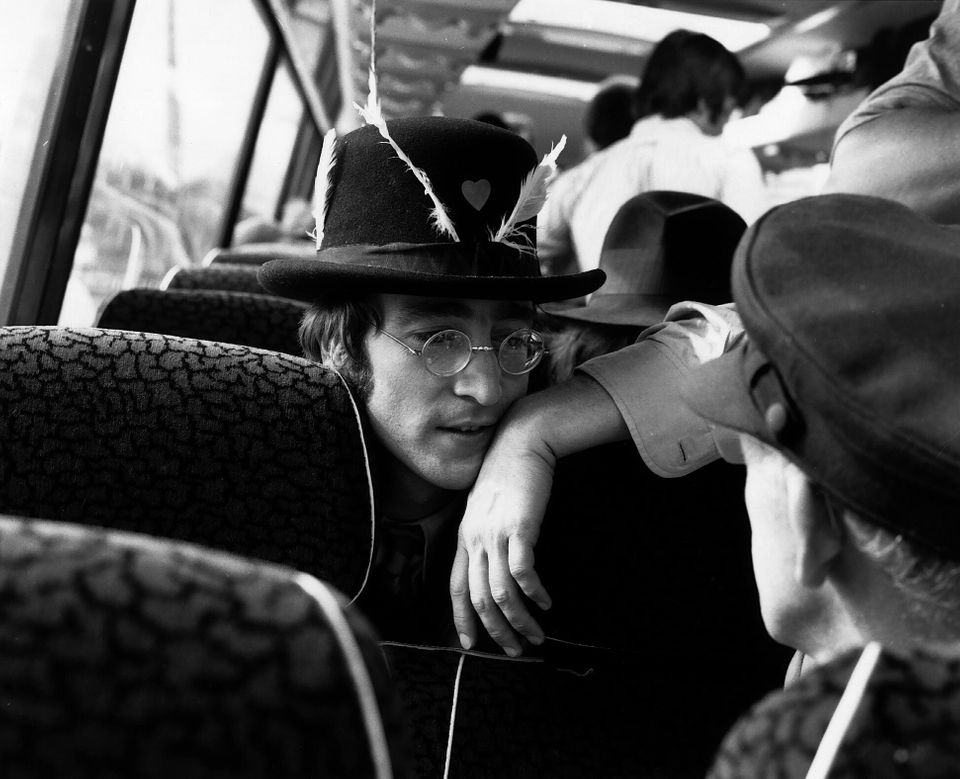 John Lennon as The Beatles set out on their celebrated tour of the West Country 11th September 1967....