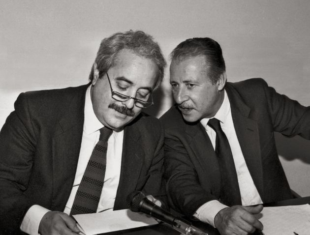 (DOUBLE RATES APPLY) Italian magistrate Paolo Borsellino talking to Italian magistrate Giovanni Falcone....