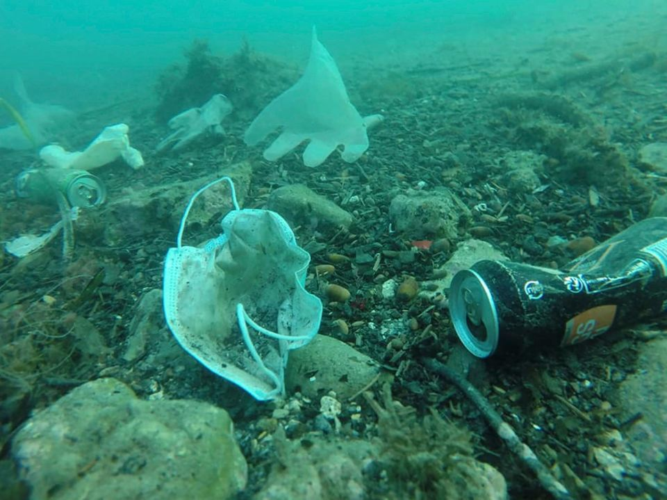 Plastic gloves, face masks and other waste in the Mediterranean Sea off the coast of southern France...