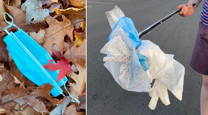 A mask and other personal protective equipment waste, such as sanitary wipes, Justine Ammendolia and Jacquelyn Saturno found during walks in Toronto.