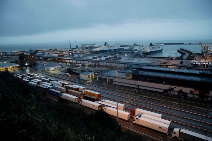 Trucks wait to board ferries at the Port of Dover, in Dover, England, on Feb. 1, 2020.